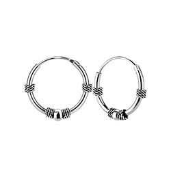 Wholesale 14mm Sterling Silver Bali Ear Hoops - JD5449