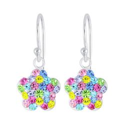 Wholesale Sterling Silver Flower Crystal Earrings - JD5490