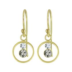 Wholesale Sterling Silver Circle Crystal Earrings - JD5498