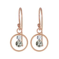 Wholesale Sterling Silver Circle Crystal Earrings - JD5346