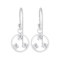 Wholesale Sterling Silver Circle Crystal Earrings - JD5385