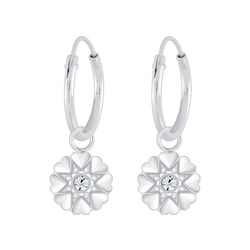 Wholesale Sterling Silver Flower Crystal Charm Ear Hoops - JD5700