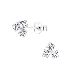 Wholesale Sterling Silver Triangle Crystal Ear Studs - JD5297