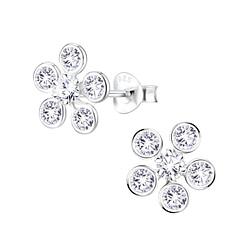 Wholesale Sterling Silver Flower Cubic Zirconia Ear Studs - JD8320