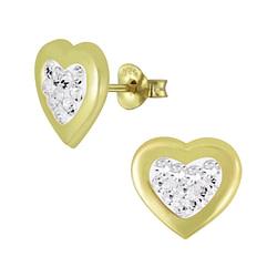 Wholesale Sterling Silver Heart Crystal Ear Studs - JD5355