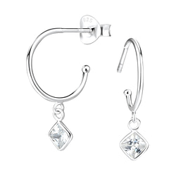 Wholesale 4mm Square Cubic Zirconia Sterling Silver Ear Studs - JD5548