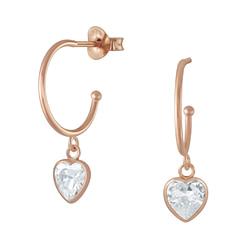 Wholesale Sterling Silver Half Hoop with Hanging Heart Ear Studs - JD5728