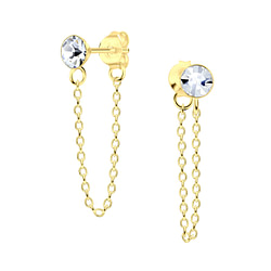 Wholesale 4mm Crystal Sterling Silver Ear Studs with Chain - JD5681