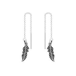 Wholesale Sterling Silver Thread Through Feather Earrings - JD5509