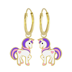 Wholesale Sterling Silver Unicorn Charm Ear Hoops - JD5369