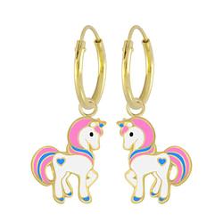 Wholesale Sterling Silver Unicorn Charm Ear Hoops - JD5429
