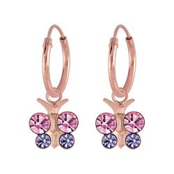Wholesale Sterling Silver Butterfly Crystal Charm Ear Hoops - JD6975
