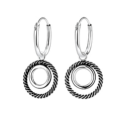 Wholesale Sterling Silver Twisted Circle Charm Ear Hoops - JD5281