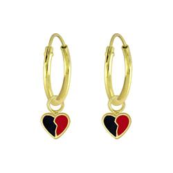 Wholesale Sterling Silver Heart Charm Ear Hoops - JD5735