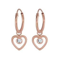 Wholesale Sterling Silver Heart Charm Ear Hoops - JD5416