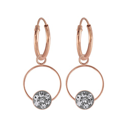 Wholesale Sterling Silver Round Crystal Charm Ear Hoops - JD5688