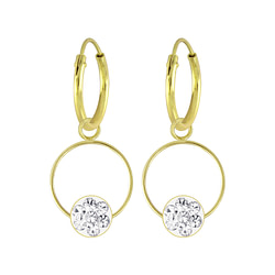 Wholesale Sterling Silver Round Crystal Charm Ear Hoops - JD5712