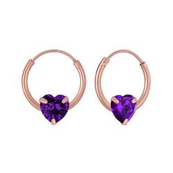 Wholesale 4mm Heart Cubic Zirconia Sterling Silver Ear Hoops - JD3716