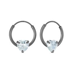 Wholesale 4mm Heart Cubic Zirconia Sterling Silver Ear Hoops - JD4674