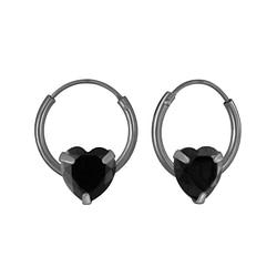 Wholesale 6mm Heart Cubic Zirconia Sterling Silver Ear Hoops - JD3678