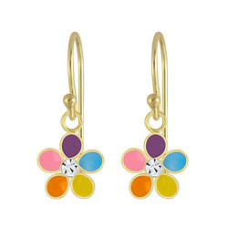 Wholesale Sterling Silver Flower Crystal Earrings - JD4658