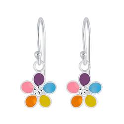 Wholesale Sterling Silver Flower Crystal Earrings - JD4657