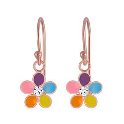 Wholesale Sterling Silver Flower Crystal Earrings - JD4659