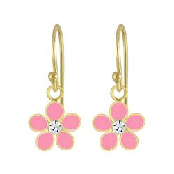 Wholesale Sterling Silver Flower Crystal Earrings - JD4654