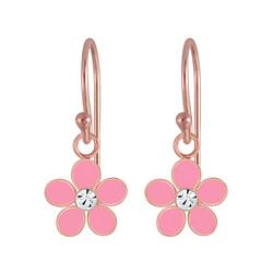 Wholesale Sterling Silver Flower Crystal Earrings - JD4655