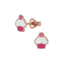 Wholesale Sterling Silver Cupcake Crystal Ear Studs - JD5943