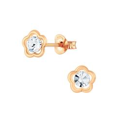 Wholesale Sterling Silver Flower Crystal Ear Studs - JD6175