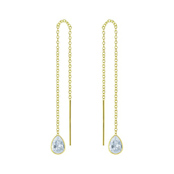 Wholesale 4X6 Pear Cubic Zirconia Sterling Silver Thread Through Earrings - JD6505
