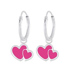 Wholesale Sterling Silver Heart Charm Ear Hoops - JD6274