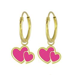 Wholesale Sterling Silver Heart Charm Ear Hoops - JD5875
