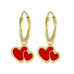 Wholesale Sterling Silver Heart Charm Ear Hoops - JD5874