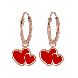 Wholesale Sterling Silver Heart Charm Ear Hoops - JD6758