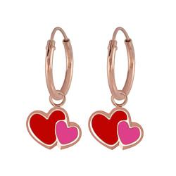 Wholesale Sterling Silver Heart Charm Ear Hoops - JD5941