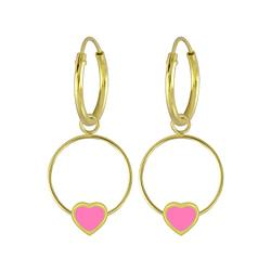 Wholesale Sterling Silver Heart Wire Charm Ear Hoops - JD5847