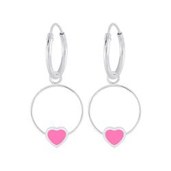 Wholesale Sterling Silver Heart Wire Charm Ear Hoops - JD5848