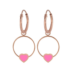 Wholesale Sterling Silver Heart Wire Charm Ear Hoops - JD5846