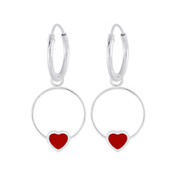 Wholesale Sterling Silver Heart Wire Charm Ear Hoops - JD5845