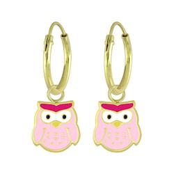 Wholesale Sterling Silver Owl Charm Ear Hoops - JD5965