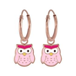 Wholesale Sterling Silver Owl Charm Ear Hoops - JD5964