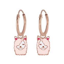 Wholesale Sterling Silver Llama Charm Ear Hoops - JD5830