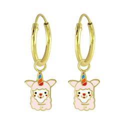Wholesale Sterling Silver Alpaca Charm Ear Hoops - JD5872