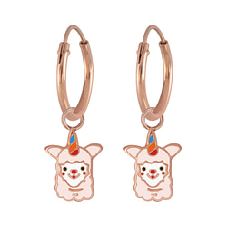 Wholesale Sterling Silver Alpaca Charm Ear Hoops - JD5871