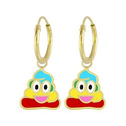 Wholesale Sterling Silver Smiling Poo Charm Ear Hoops - JD6146