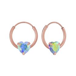 Wholesale 4mm Heart Cubic Zirconia Sterling Silver Ear Hoops - JD5862