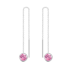 Wholesale 6mm Round Cubic Zirconia Sterling Silver Thread Through Earrings - JD4677