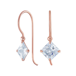 Wholesale 6mm Square Cubic Zirconia Sterling Silver Earrings - JD6508